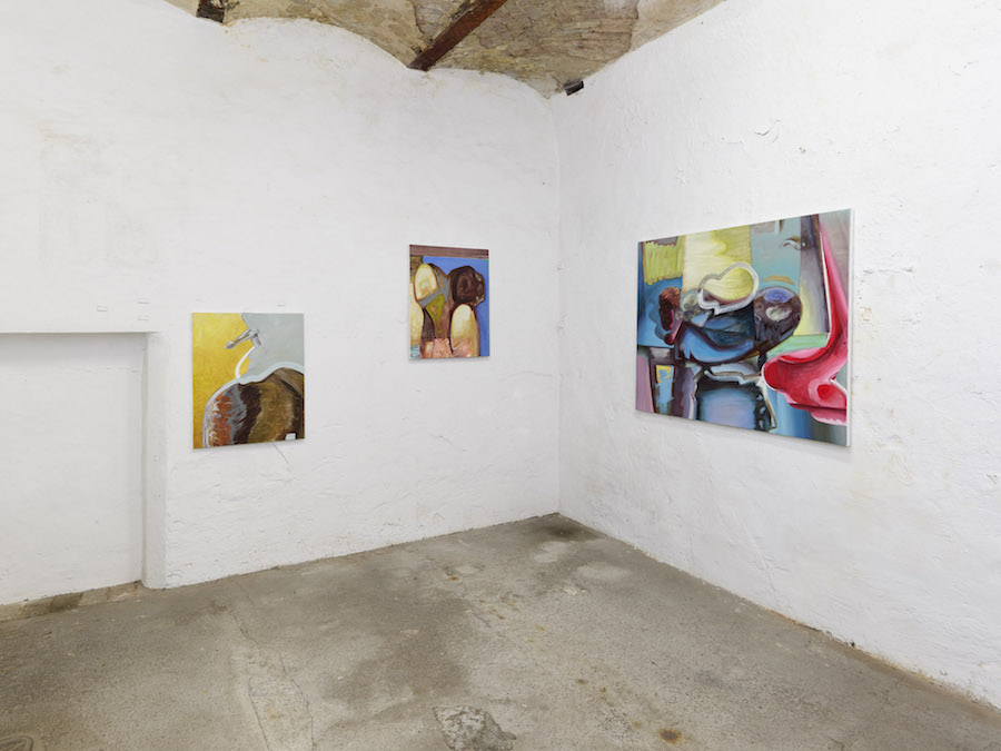 Exhibition A Matter of Touch at Torstrasse 111 in Berlin, paintings by Kiki Kolympari, curated by Jurriaan Benschop