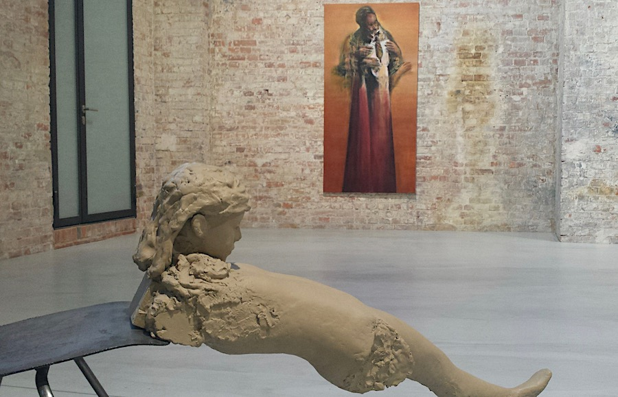 Exhibition Re: Imagining Europe at Box Freiraum, sculpture by Mark Manders, painting by Nikos Aslanidis